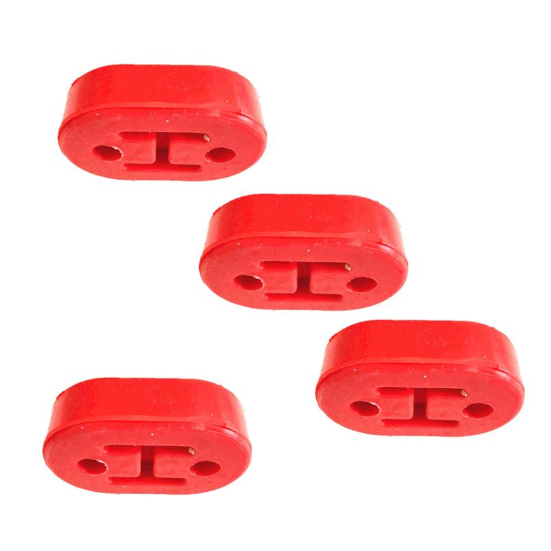 Universal Red 4PCS Car Rubber Exhaust Hanger Pipe Mount Mounting Bracket set