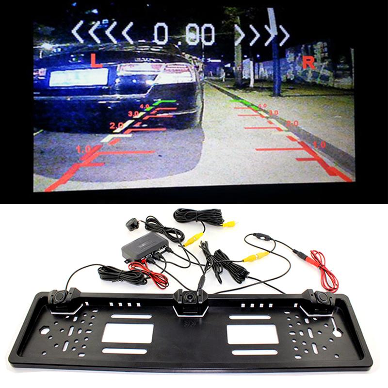 Car RV License Plate Frame Backup Reverse Camera Parking Sensors 520 TV lines