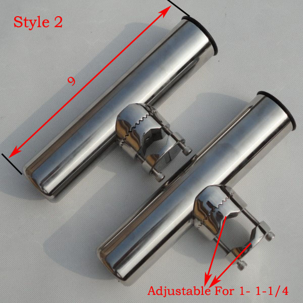 """2PCS Tournament Style Clamp On Fishing  Rod Holder Plastic Liner For1/""""/&1-1//4/"""""""