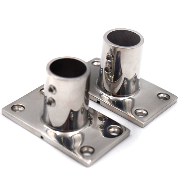 """Awesome Boat Hand Rail Fitting 30 Degree 7//8/"""" Rectangular Base Stainless Steel"""