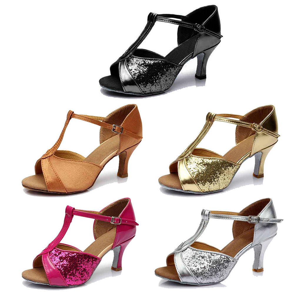 221 3-Color Brand New Women/'s Ballroom Latin Tango Dance Shoes Salsa heeled