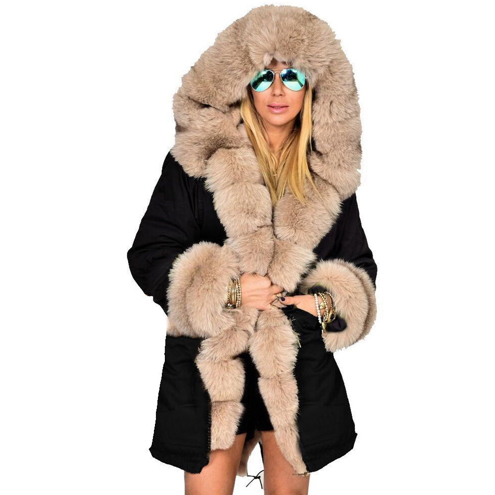 Ladies Fur Lining Coat Womens Winter Warm Thick Long Jacket Hooded Parka On Sale