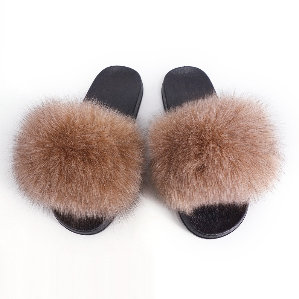 2476d8529ee Details about Women s Real Fur Flat Shoes Fluffy Flip Flop Slippers Sliders  Sandals Outdoor