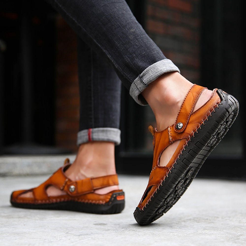e51b6ce60 Men's Leather Sandals & Slippers Shoes Beach Closed Toe Soft Slip On Casual  Item Specifics: Shoe Type: Leather Sandals Toe Type: Round Toe