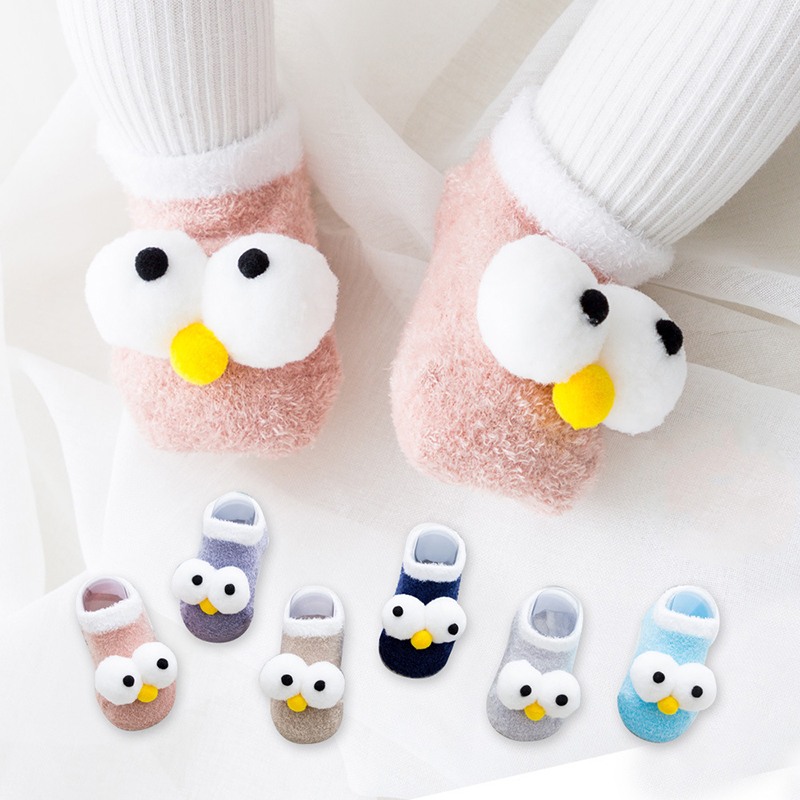 Newborn Baby Boy Girl Cartoon Big Eyes Anti Slip Cute Slipper