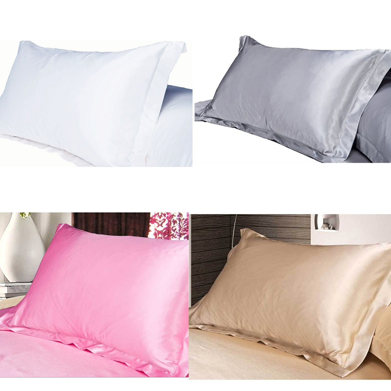 Pcs Soft Standard Queen Bedding Cushion Cover Silk Pillowcase Home Decor Satin