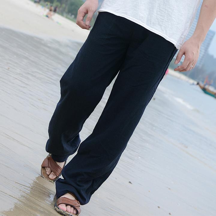 Men Fashion Elastic Waist Trousers Pants Summer Linen
