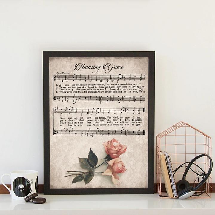 Amazing Grace Vintage Hymn Sheet Music Print Home Wall Art Canvas Painting Decor Ebay