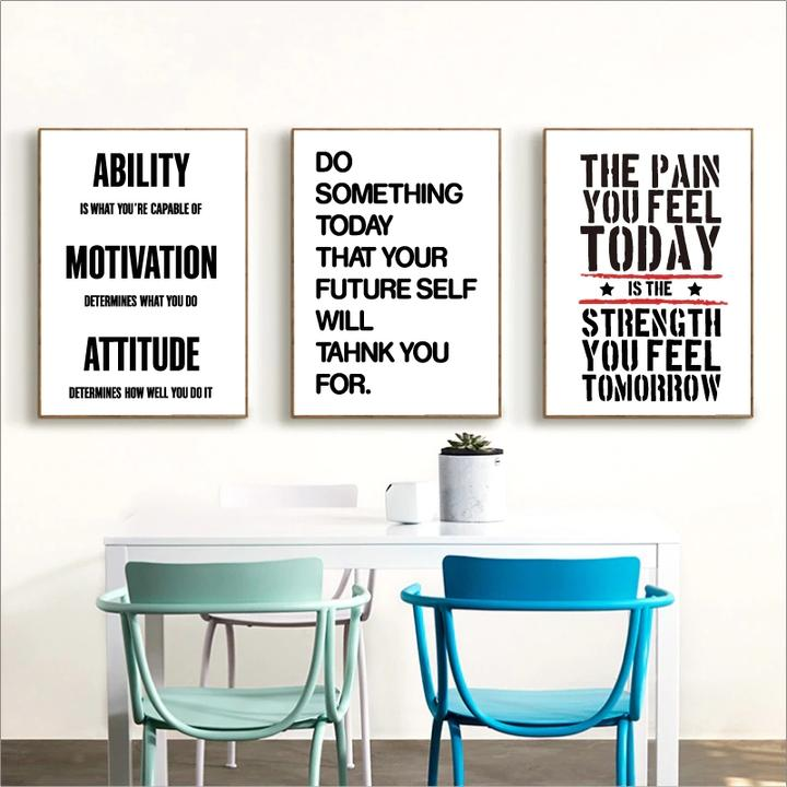 Fitness Motivational Quotes Canvas Prints Minimalist Wall Art Poster Gym Decor Ebay