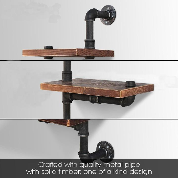 3 tiers industrial diy pipe shelf wall mounted bookcase adjustable display rack 601982363901 ebay. Black Bedroom Furniture Sets. Home Design Ideas