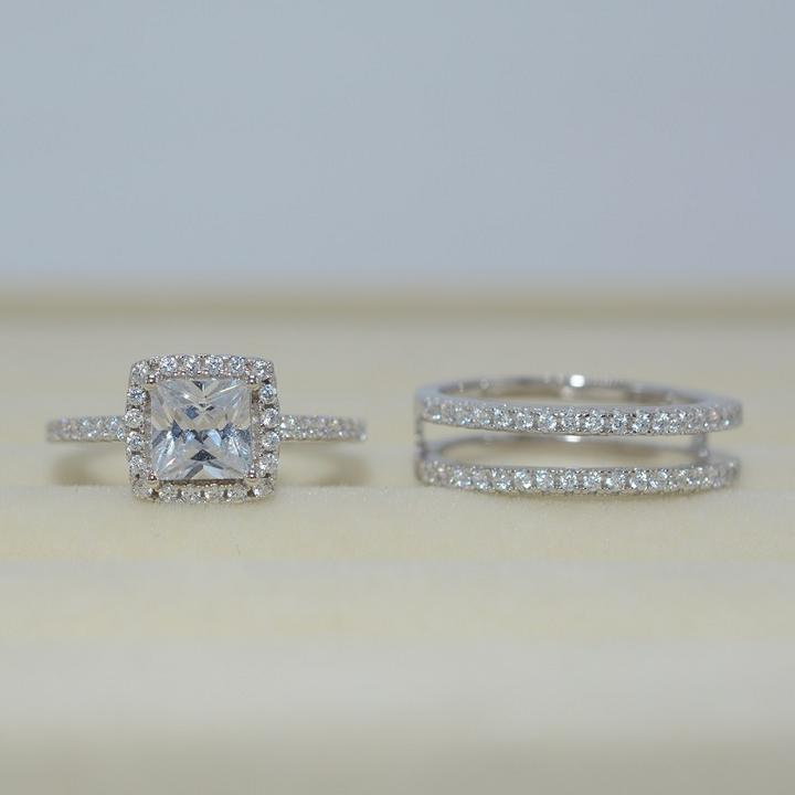 Fashion Halo Heart CZ White Gold Filled Engagement Wedding Ring Set Size 5-10