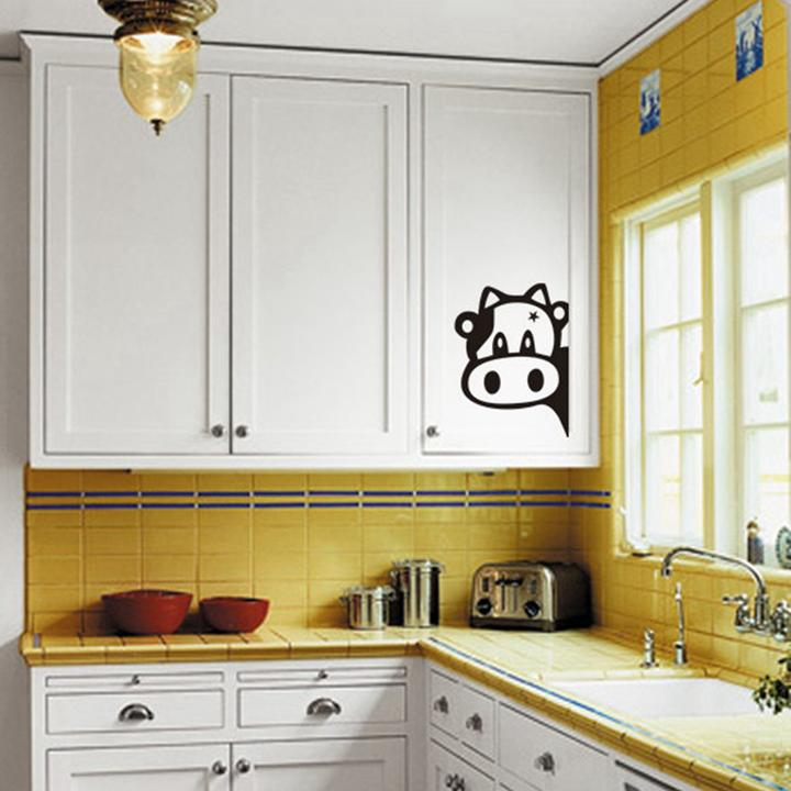 Funny cow kitchen fridge sticker vinyl decals wall tiles for Kitchen cabinets lowes with decorative tiles for wall art