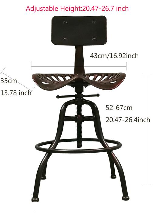 Industrial Swivel Bar Stool Tractor Seat Coffee Dining Chair Height Adjustable