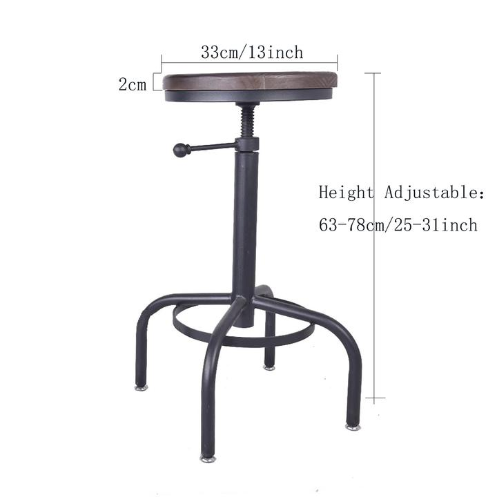 Wondrous Details About Vintage Bar Stool Swivel Chair Coffee Kitchen Dining Stool Wood Top Metal Frame Gmtry Best Dining Table And Chair Ideas Images Gmtryco