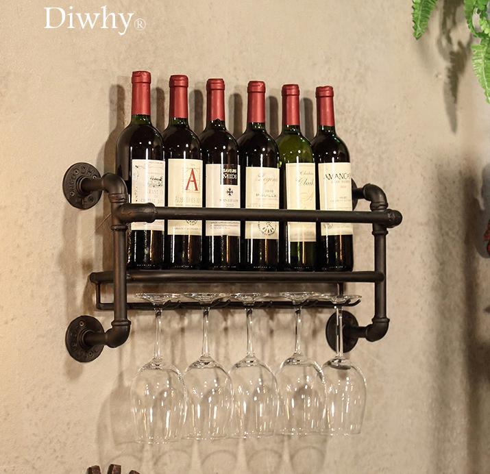 Details About Wall Mount Metal Wine Rack 5 Long Stem Gl Holder Cork Storage