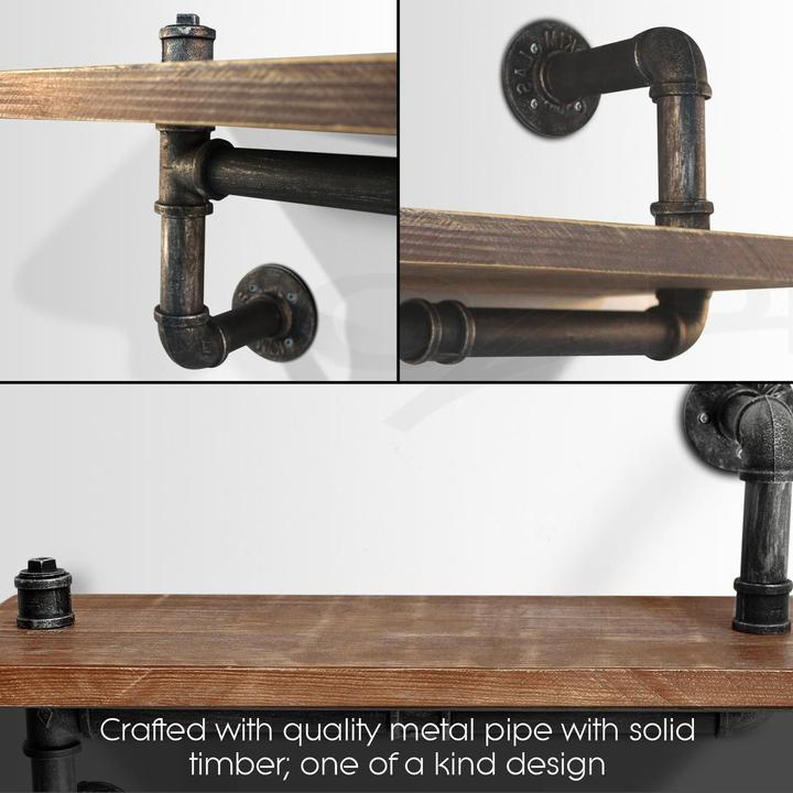 Pipe Shelves Kitchen: Industrial Wall Shelves Rustic Pipe Storage Shelving