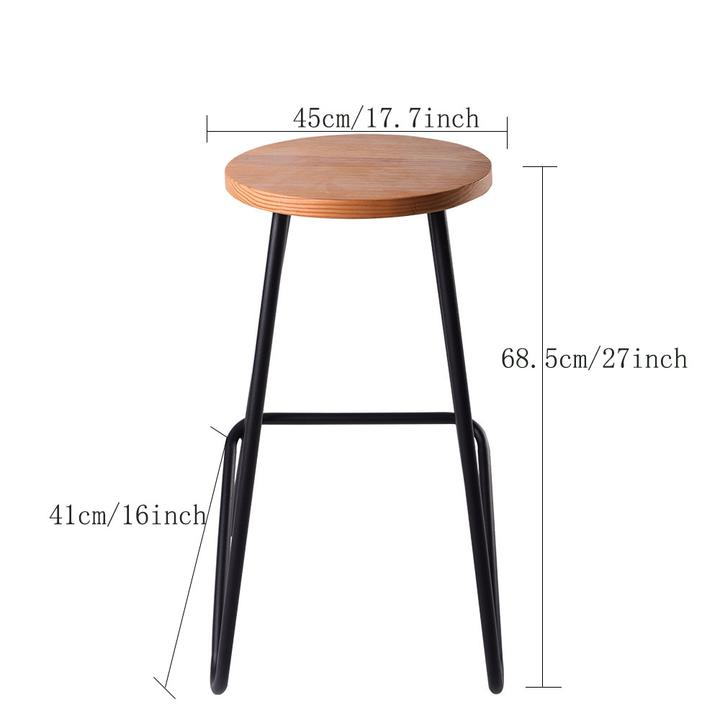 Industrial Bar Stool Rustic Pub Cafe Chair Kitchen Dinning Metal Pinewood Design Furniture
