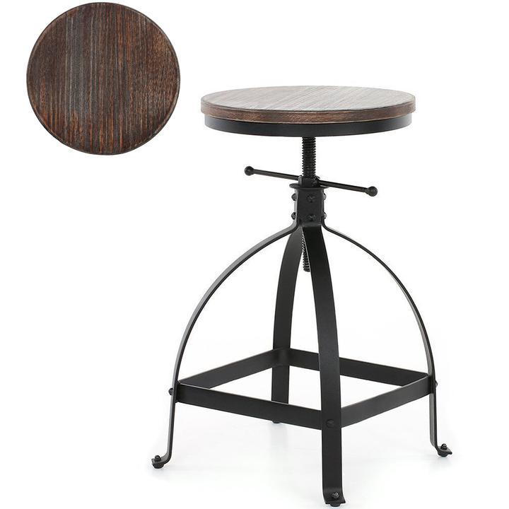 Awesome Details About Rustic Bar Stool Swivel Wood Seat Kitchen Coffee Chair Height Adjustable Black Machost Co Dining Chair Design Ideas Machostcouk