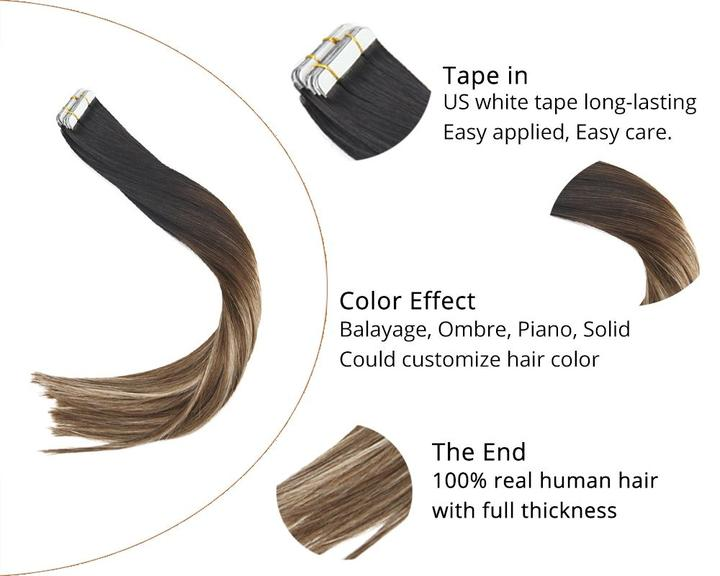 Sunny Hair Tape In Remy Human Hair Extensions Natural Black To Dark