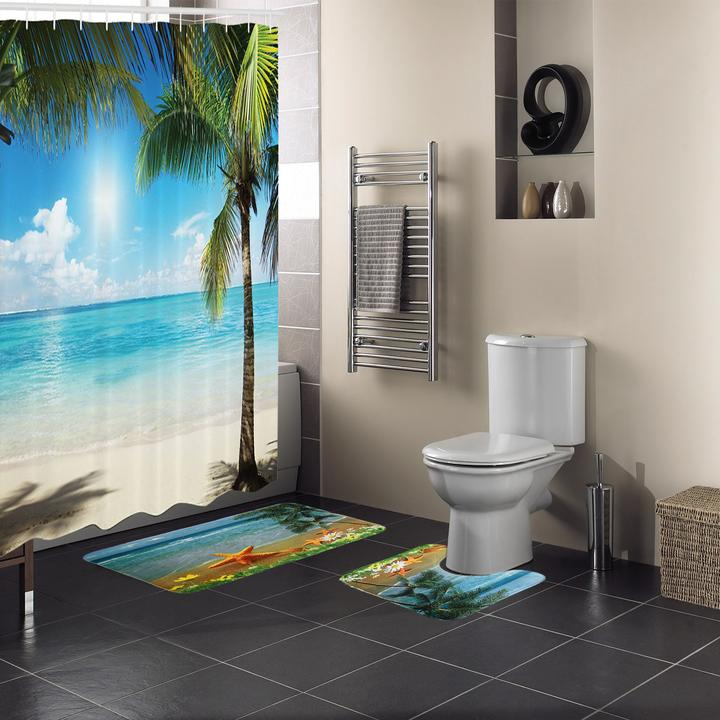 15 Pc Sunny Ocean Bath Rug Mat Bathroom