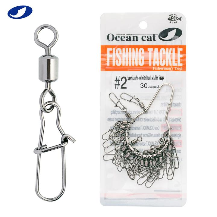 Ocean cat  American Swivel with Duo Lock Snaps Fishing Hook Tackle Black Nickel