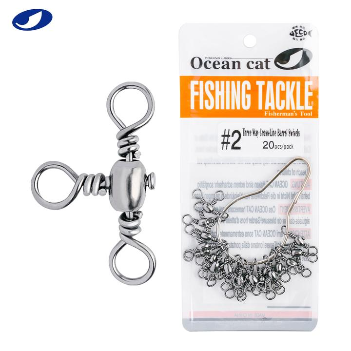 OCEAN CAT 120 Pcs//Box Assortment Three Way Cross-Line Barrel Swivel 3 Way T-Turn