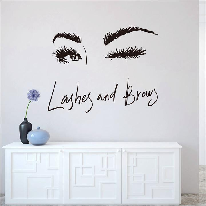 eye eyelashes wall decal sticker lashes eyebrows brows beauty salon