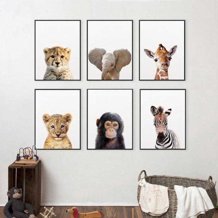 Animal Giraffe Print Poster Nursery Wall Art Print Kids Room Decoration