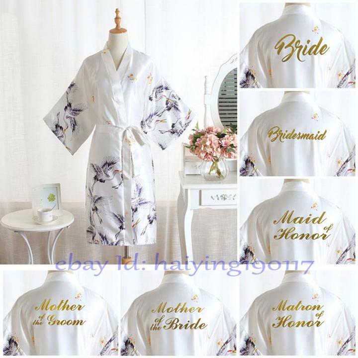 Bridesmaid Immortal crane Women Satin Wedding Bride robe Bridesmaid Robe 6 color