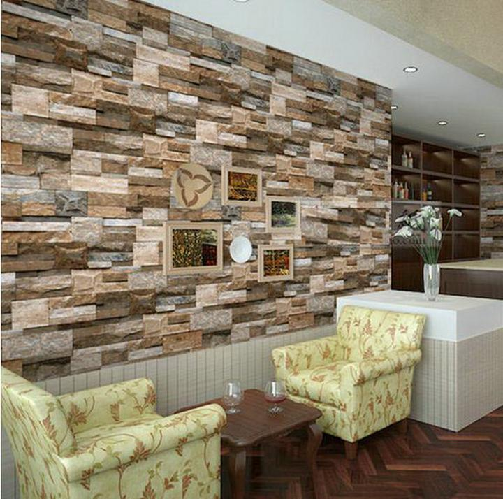 Realistic real stacked brick stone vinyl background for 3d wallpaper for living room malaysia