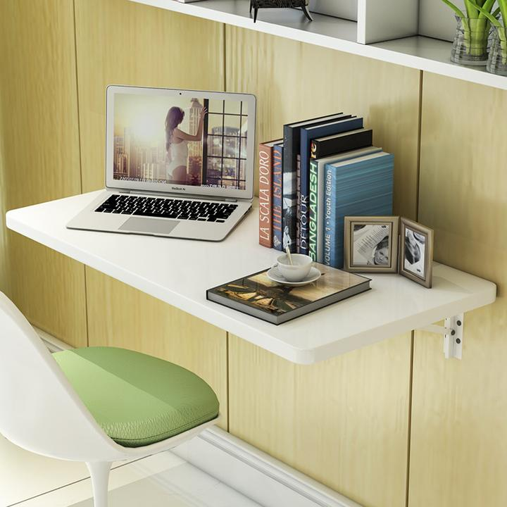StableWhite Color Wall Mount Floating Folding Computer Desk Home Office PC Table
