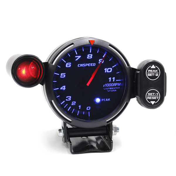 Car Truck Boat 12V Universal 5-inch Blue LED Large Screen Silver Plated 0-11000rpm Tachometer Auto Practical Accessories