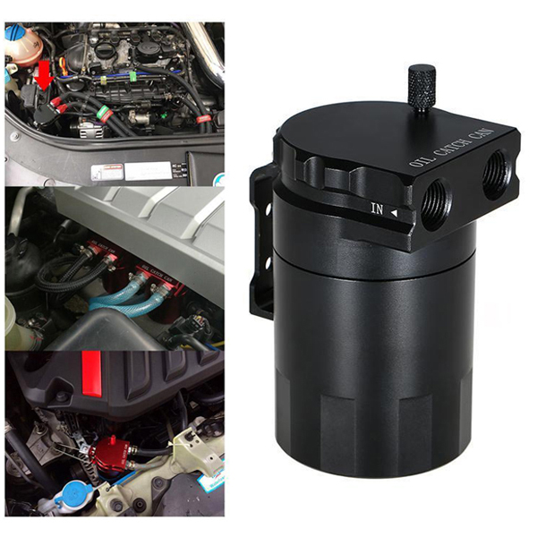 Aluminum Alloy Car Baffled Oil Catch Can Tank Reservoir Breather Fitting Spiffy