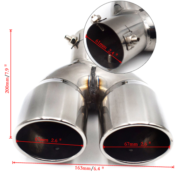 """61mm//2.4/"""" Stainless Steel For Car Rear Dual Exhaust Pipe Tail Muffler Tip Sturdy"""